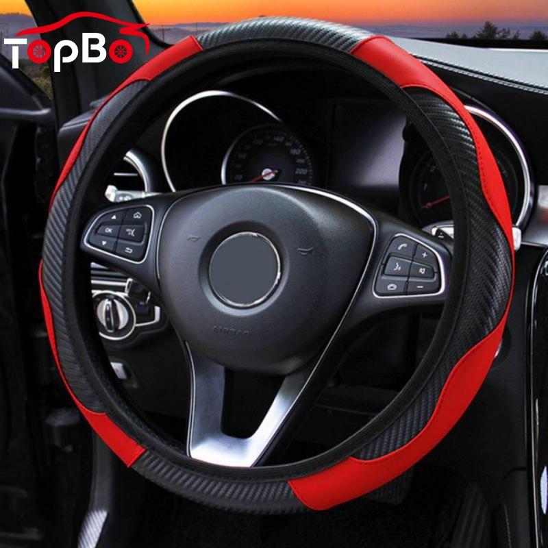 Anti Slip Car Steering Wheel Cover  PU Leather Steering Covers Suitable 37-38cm Auto steering wheel  Interior Accessories