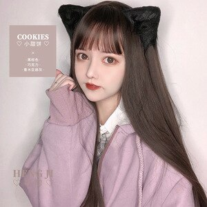 Heng Ji Lolita Wig Sheath Female Hair Medium-Length Hair Lolita Red Antique Natural Girl Cookies lolita wig