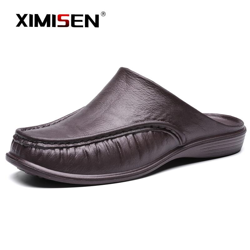 Ximisen sapatos casuais chinelos vento britânico baotou meia arrastar sapatos masculinos de couro respirável deslizamento em mocassins preguiçosos masculinos plus size 47