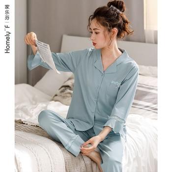 [Mercerized Cotton] Pajamas WOMEN'S Spring Summer Pure Cotton Three-quarter-length Sleeve Long-Sleeved Clothing Cotton Spring