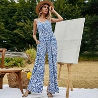 2021 popular summer womens clothes temperament commute printed jumpsuit sexy v neck vest long jumpsuit women elegant