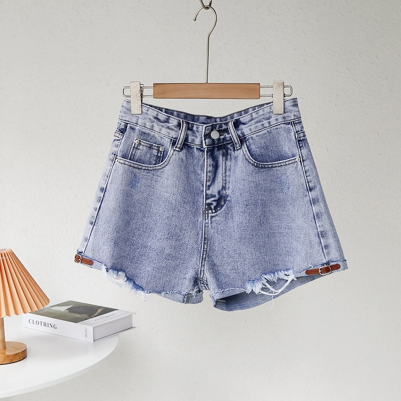 Women's Shorts In Summer 2021 Solid High Waisted with Raw Hem and Light Denim Hot Pants drop shoulder raw hem rips crop hoodie