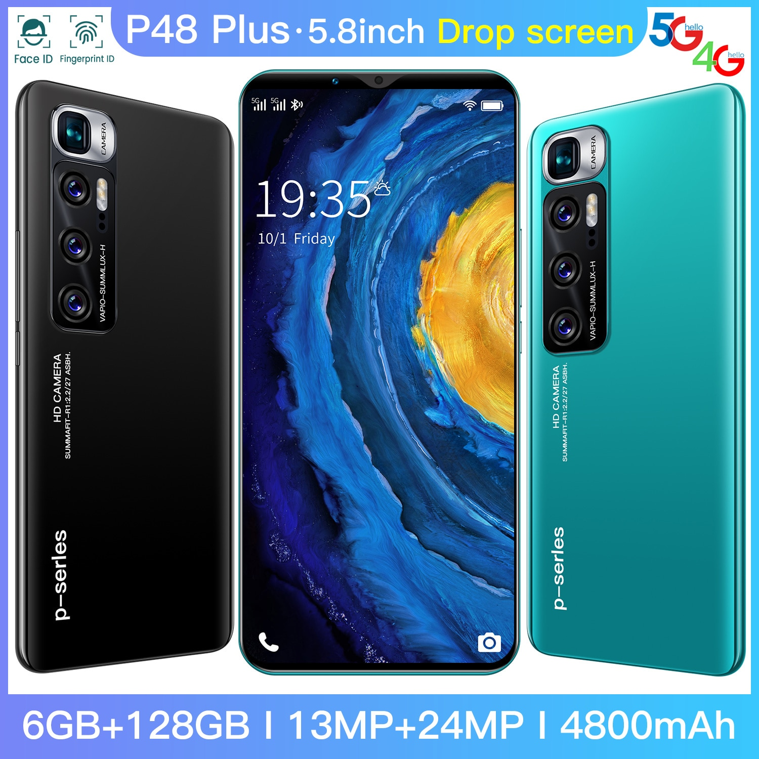 5.8inch P48 Plus 6GB 128GB 13MP+24MP 5g Cellphones Smartphones Android 10 4800mAh 10Core Really Telephone MTK6889