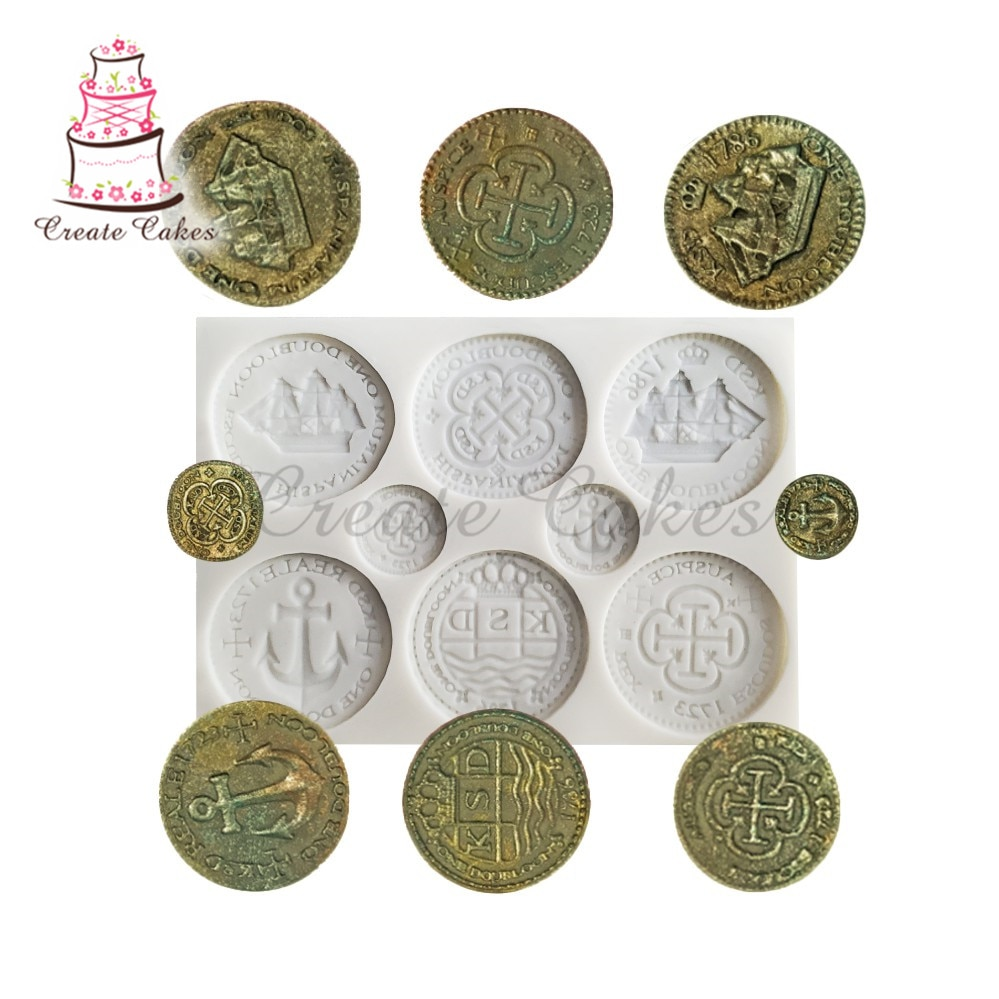 Copper Coin Silicone 3D DIY Craft Cake Mould Fondant Soap Chocolate Mold Cupcake Decoration Baking Tool macaron silicone mould chocolate mold fondant cake decoration baking tool handmade soap silicone mold
