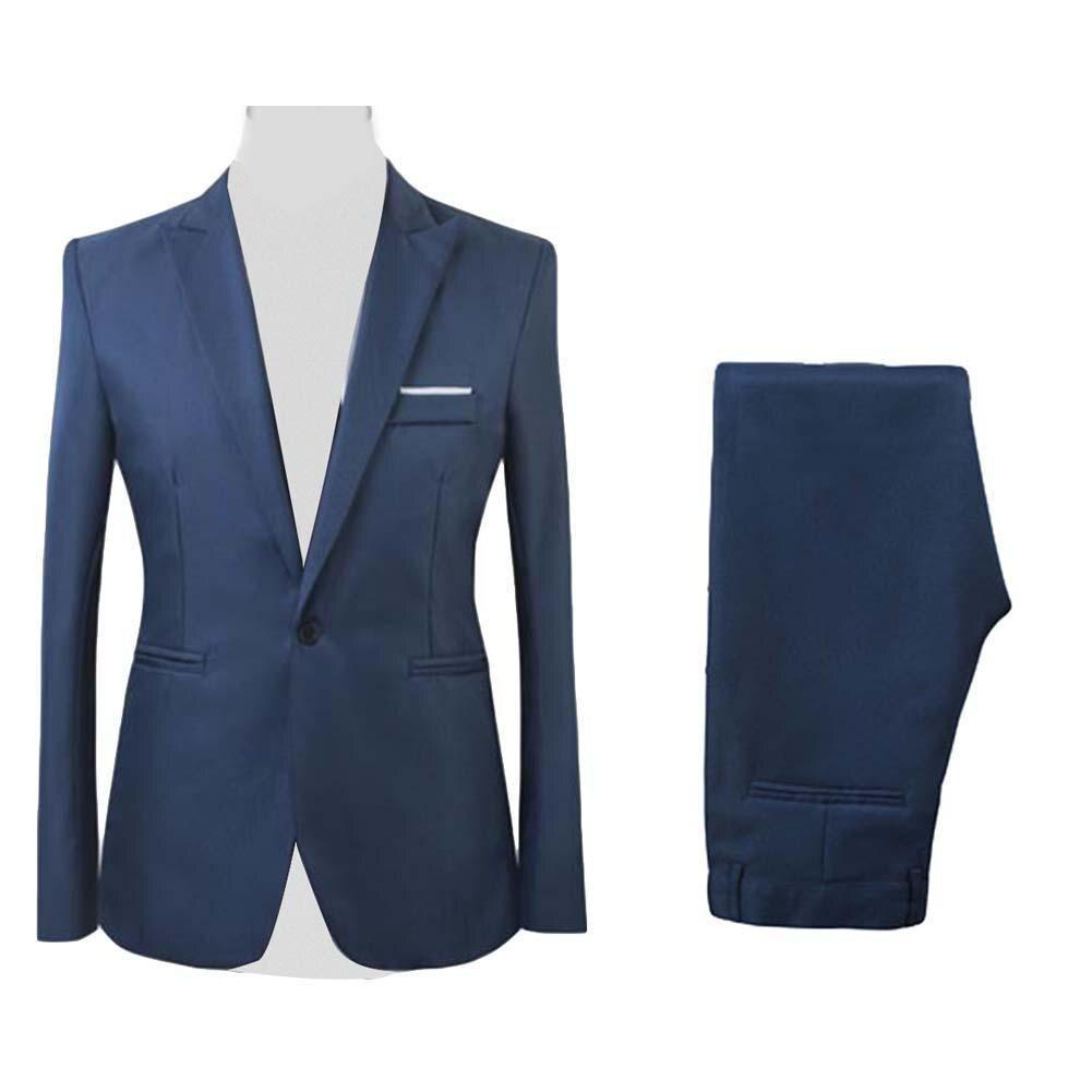 2Pcs/Set Men Formal Business Party Solid Color Long Sleeve Blazer Suit Pants 2Pcs/Set Men Color Long Sleeve Blazer Suit Pants