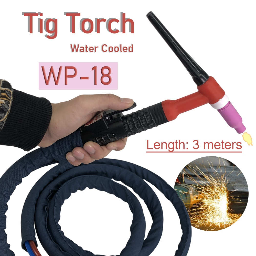 WP18 Water Cooled TIG Welding Torch 350A Argon Tungsten Welding 3M 13ft Cable TIG Torch Water and Electric Seperated