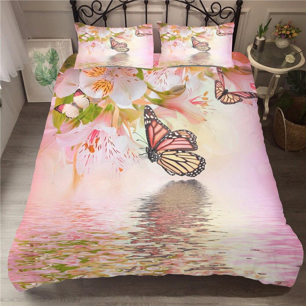Doble ropa de cama de lino Rosa diseño de mariposa edredón tamaño King Set con fundas de almohada tamaño Queen individual