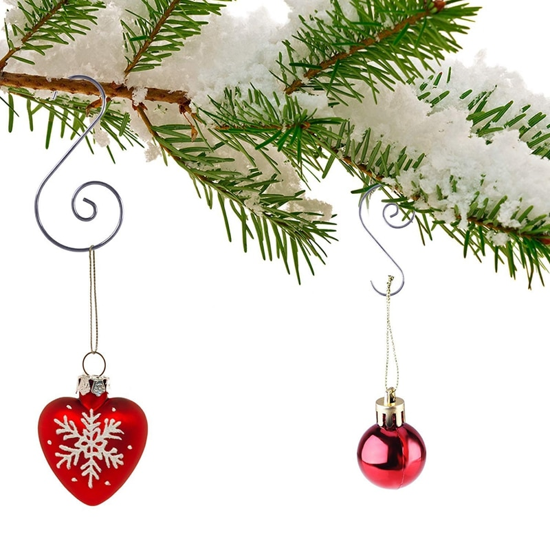 120 piezas adornos navideños ganchos perchas en forma de S ganchos de percha giratoria adorno gancho para decoración de árbol de Navidad percha (Silve