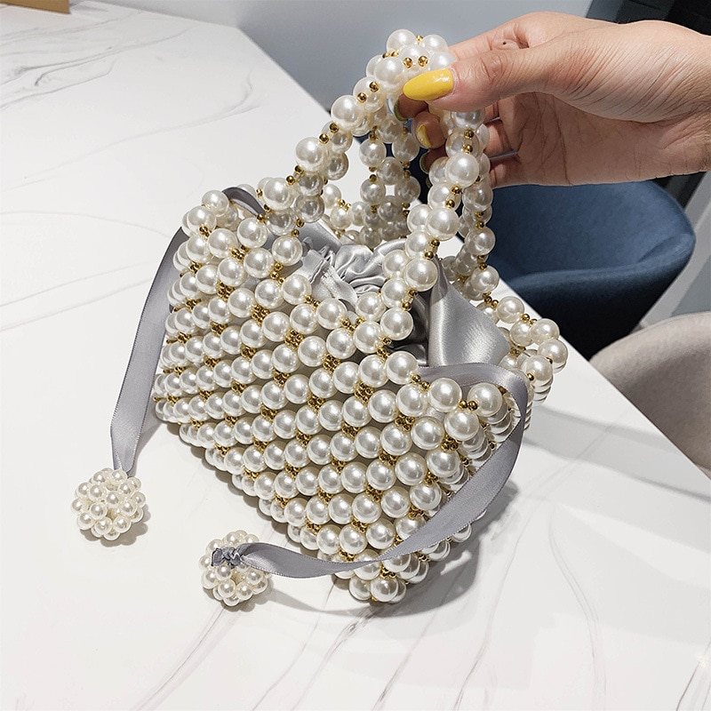 Hand Woven Pearl Evening Bags Women 2019 Luxury Small Beaded Flap Box Pearl Clutch Purses And Handbag Ladies Mini Cross Body Bag