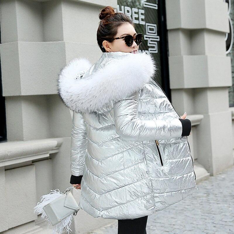 Chaqueta larga de invierno para mujer, abrigo cálido, estilo plateado, Cuello de...