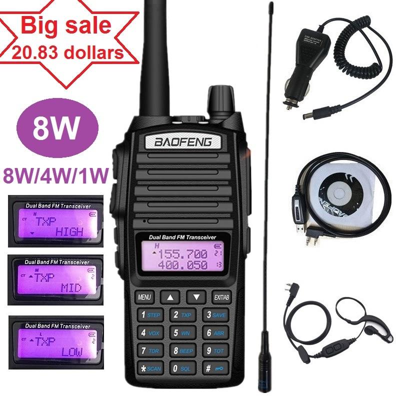 8W BAOFENG UV-82 Walkie Talkie Radio Amateur VHF UHF Portable Ham CB Radio Transceiver UV-82 PLUS for Hunting 10KM