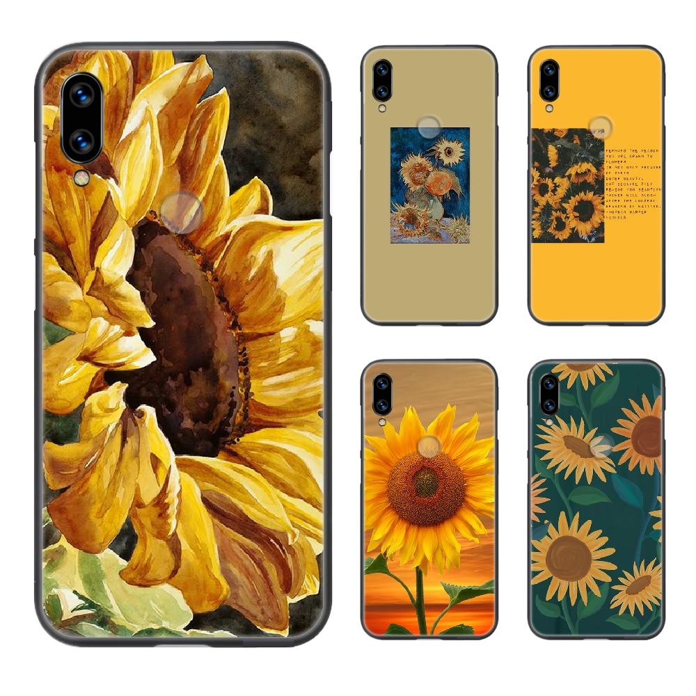 Funda de teléfono girasol amarillo para XIAOMI Redmi 7a 8a S2 K20 NOTE 5 5a 6 7 8t 9 9s pro max negro parachoques bonita funda