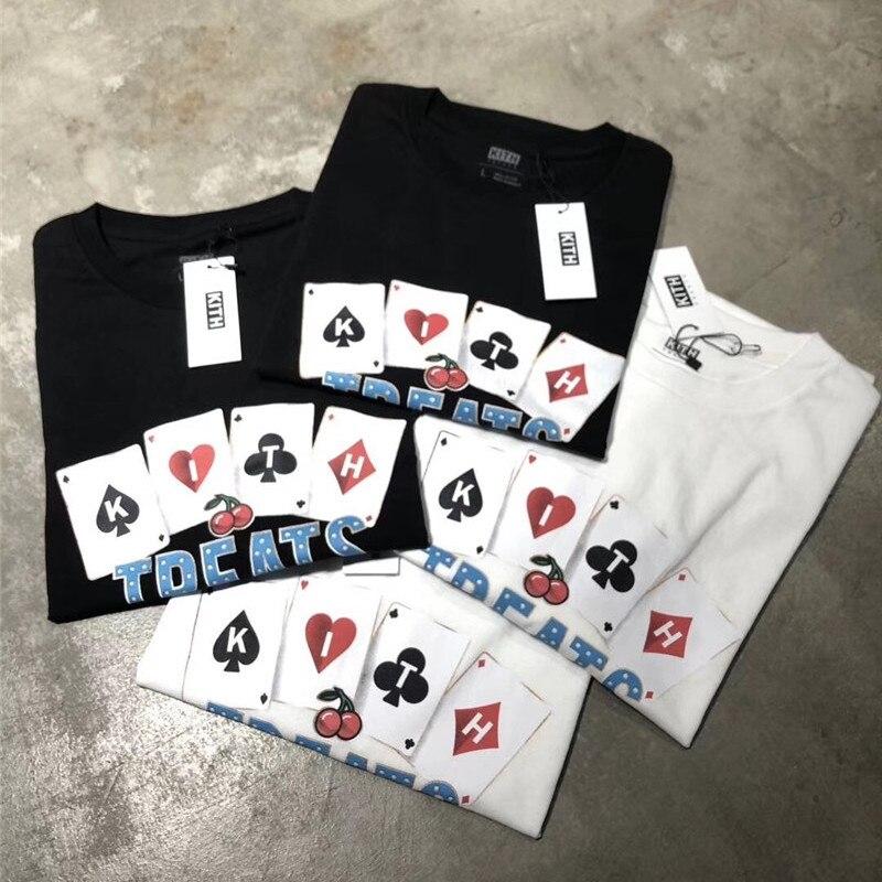 Jogando cartas Trata KITH Homens da camisa de T Das Mulheres de grandes dimensões 11 Top-Qualidade do Algodão harajuku Top Tees Streetwear KITH t-shirt tshirt