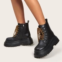 dropship female motorcycle boots square heel zip black platform ankle boots 2021 new sport comfy combat boots woman shoes
