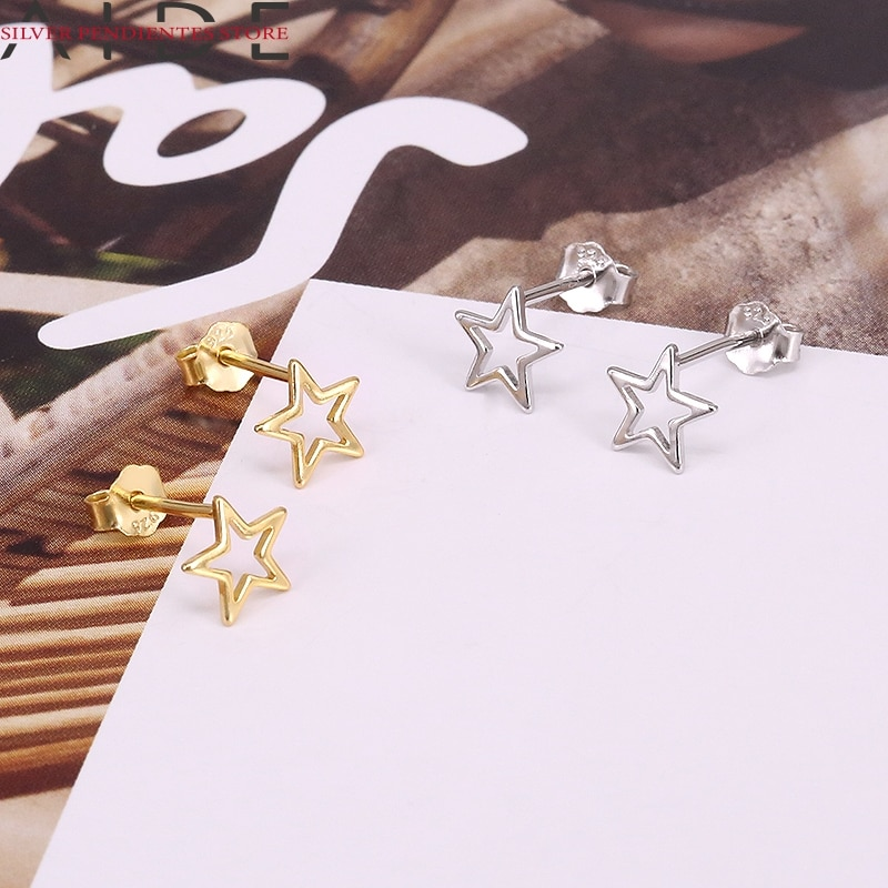 AliExpress - AIDE 100% 925 Sterling Silver Earrings For Women Brincos Hollow Out Star Small Stud Earrings Girls Party Jewelry Gifts Brincos