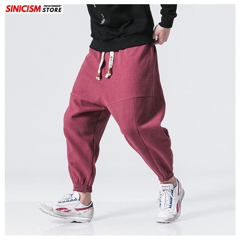 MrGoldenBowl tienda japonés Casual algodón Pantalón liso chino holgado Legging Pantalones Hombre Harem pantalones sueltos Jogger