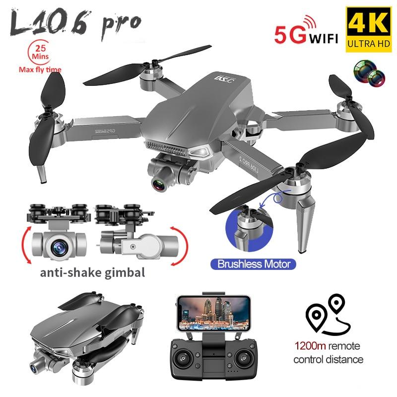 L106 برو غس أرسي الطائرة بدون طيار مع 4K هد كاميرا مزدوجة 5G واي فاي فبف المهنية كوادكوبتر اثنين-أنيكس جيمبال طوي أرسي ألعاب هليكوبتر