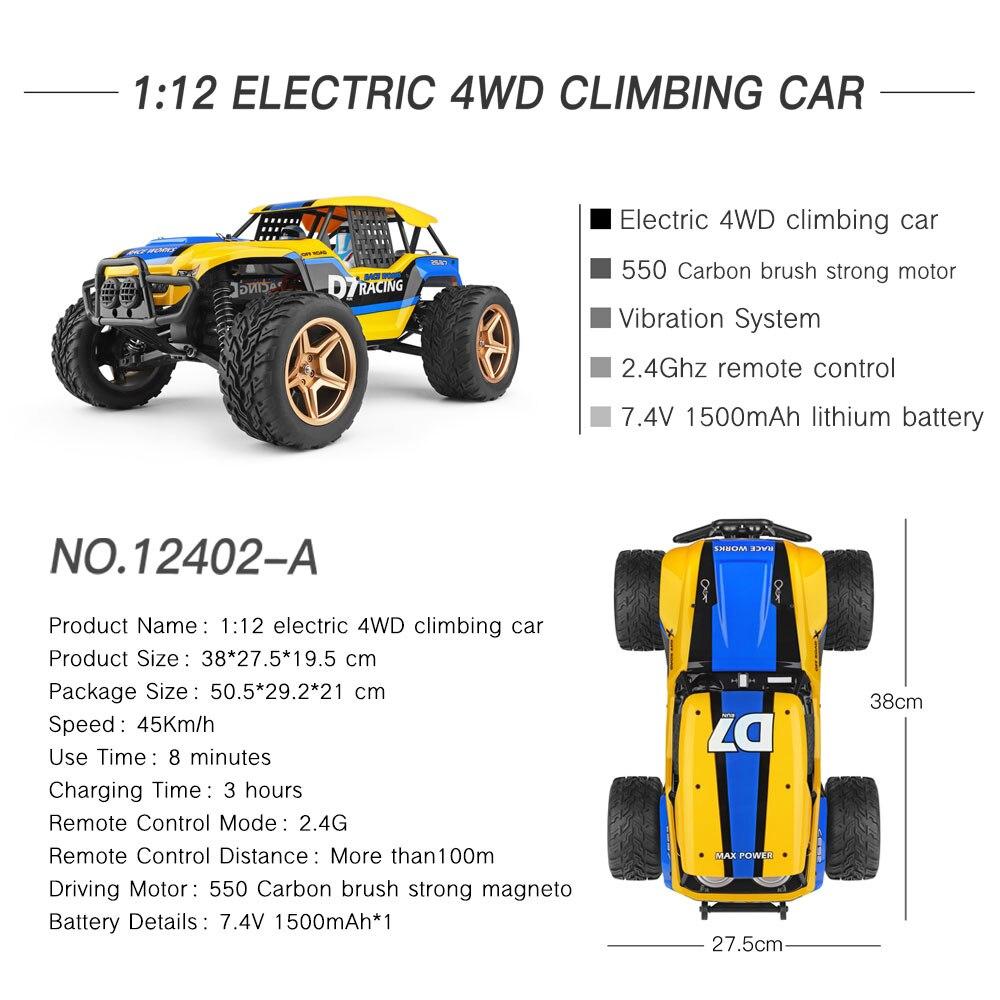 12402-A D7 1/12 RC Car 2.4G 4WD Car cochecito Crawler 550 Motor 45 Km/h coche todoterreno de alta velocidad coche de escalada enlarge