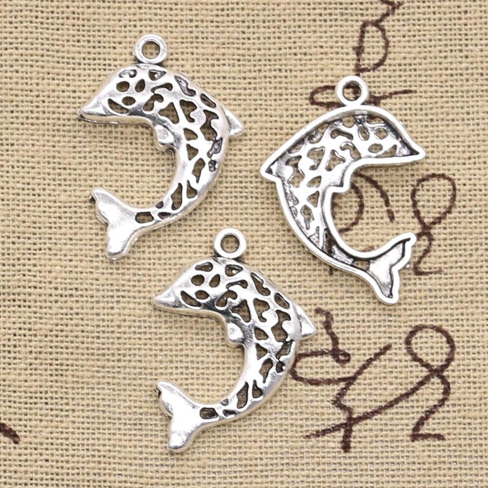 15 pçs encantos oco golfinho 28x20mm antigo prata cor pingentes fazendo diy artesanal tibetano encontrar jóias