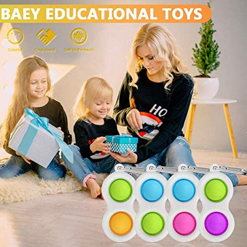 Baby Fidget Simple Dimple Toy Keychain Pendant Sensory Stress Relief Hand Adults Toy Early Educational Toys For Kids enlarge