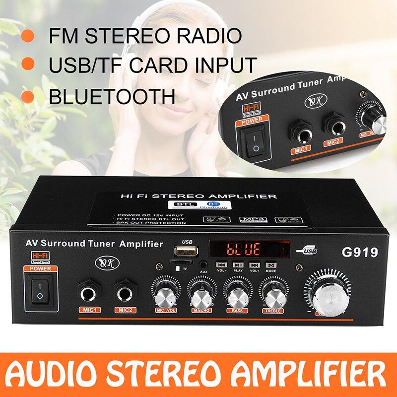 Miniamplificador de Audio estéreo con Bluetooth para coche y hogar, Amplificador de...