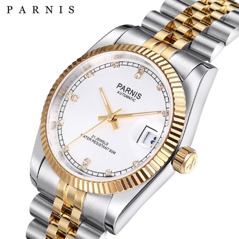 Reloj Automático Parnis Design de 36mm con cristal de zafiro de acero inoxidable, reloj de pulsera mecánico luminoso resistente al agua para hombre