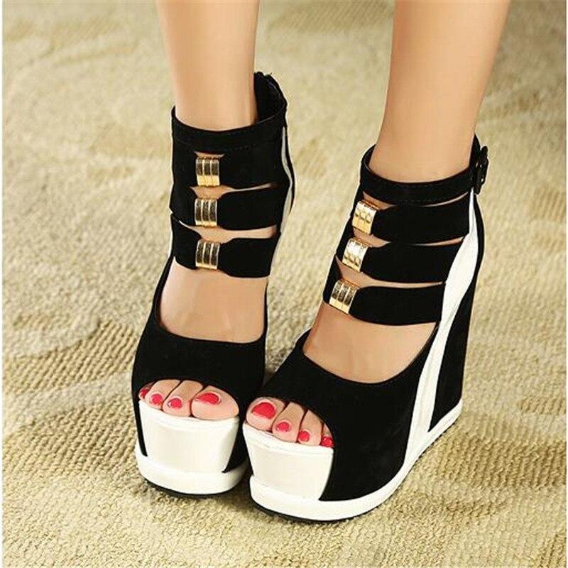 Zapatos de mujer 2020 de verano genuinos sandalias de suela gruesa de plataforma de mujer cuñas de tacón alto 14cm Peep Toe colores mezclados zapatos Sexy
