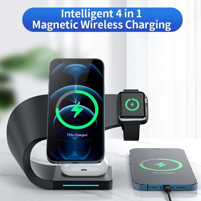 Support de chargeur magnétique sans fil 3 en 1 pour iPhone 12 Pro Max, Qi, charge rapide, à Induction, pour Apple Watch, AirPods
