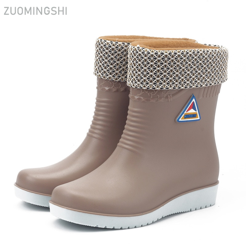 Botas de lluvia cálidas de invierno, botas impermeables para mujer, zapatos de lavado de coches, zapatos de trabajo antideslizantes de moda