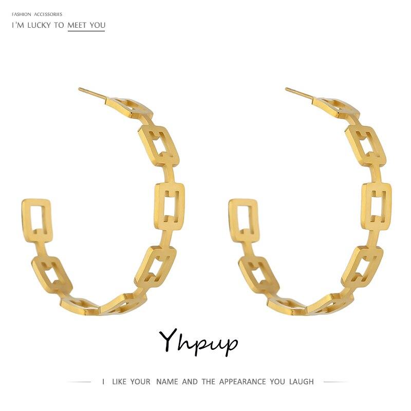 Yhpup-pendientes minimalistas de cadena de acero inoxidable para mujer, aretes geométricos con estilo, Metal dorado, joyería, regalo