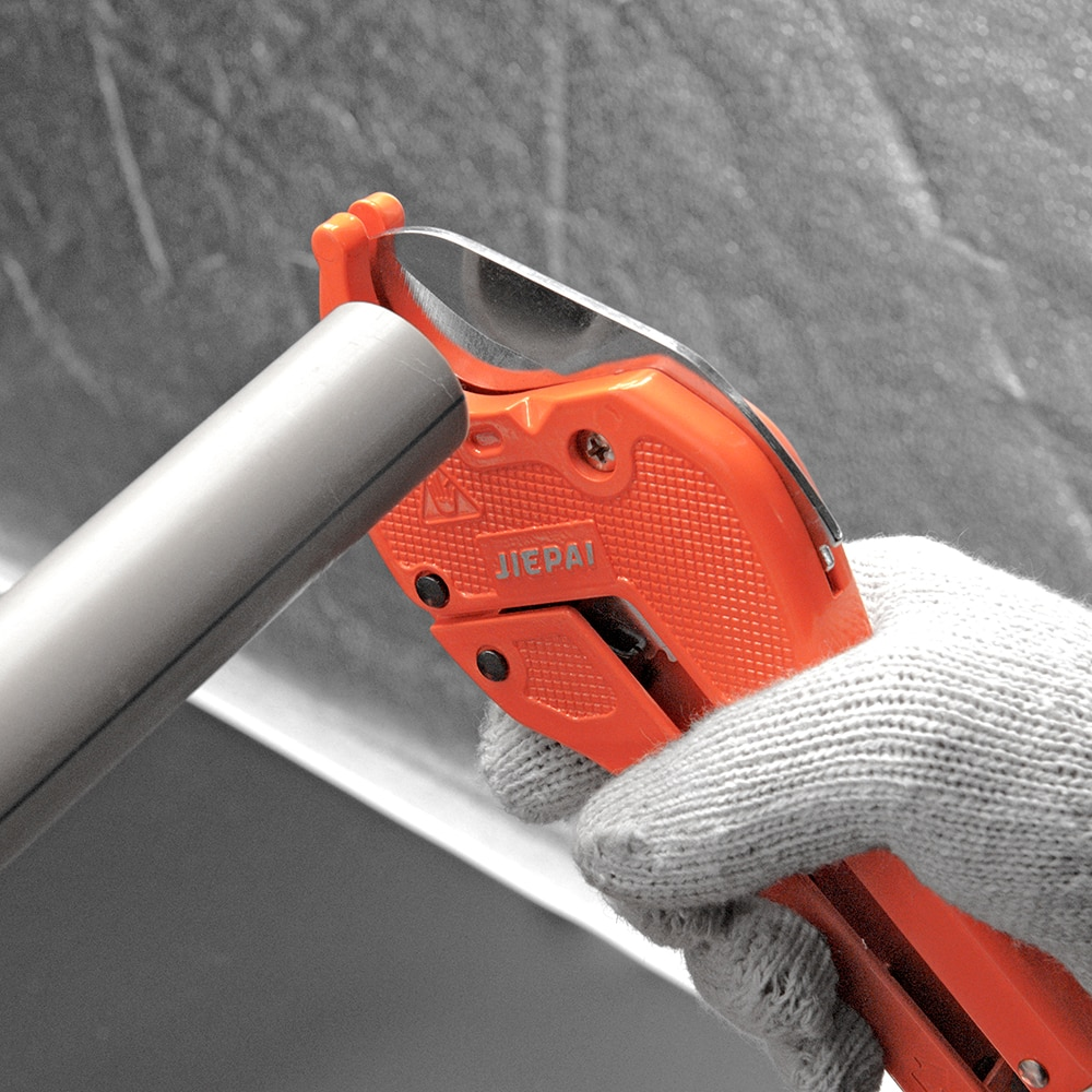 QHTITEC PVC Pipe Scissors Tubing Cutter 35/42/45/64mm PVC/PU/PP/PE Hosepipe Ratchet Scissors for Cutting Hand Plumbing Tools Set