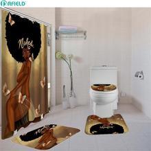 Ensemble de salle de bain à 4 pièces/ensemble   Avec rideau de douche, ensembles de rideaux de douche afro-américains, ensemble de rideau et de tapis de douche de salle de bain pour fille noire