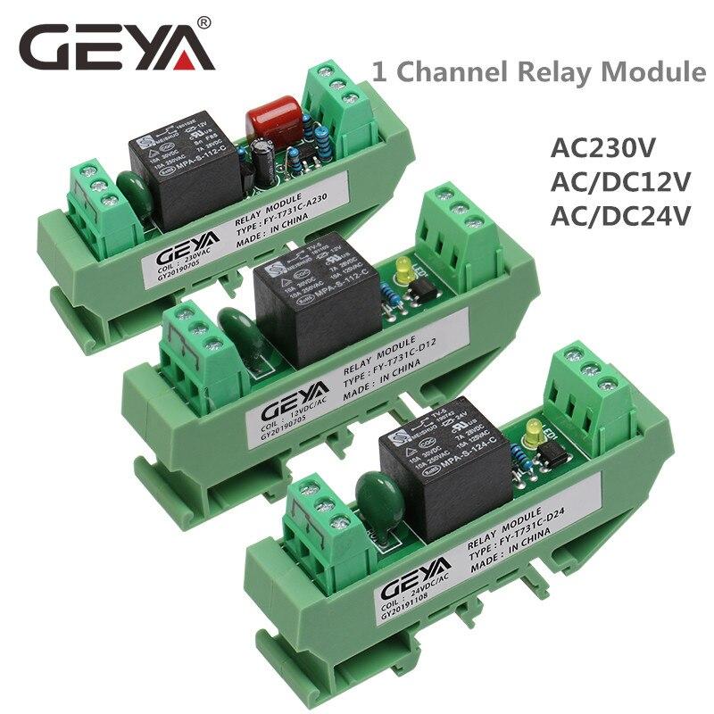 GEYA 1 Módulo de canal de relé AC/DC 24V 12V 230VAC en carril Din GSM relé de Control de temporizador módulo