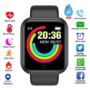 Y68 Smart Watch Men Women Smartwatch Heart Rate Blood Pressure Monitor Fitness Tracker Watch Smart Bracelet for Android and IOS