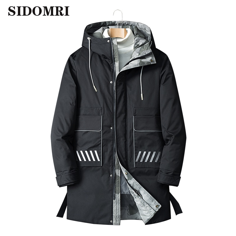Winter down jacket new men's medium length jacket with extra thickness and warmth popular logo white duck down 90% down coat