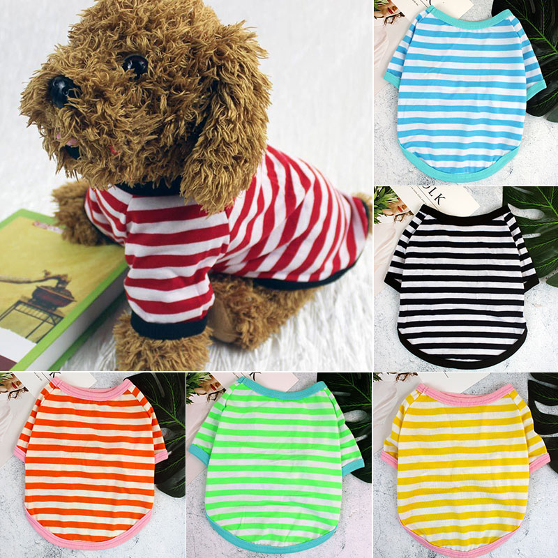 New Dog Clothes Soft T-shirt ThinStriped Round Neck For Small And Medium Dogs Pet Puppy
