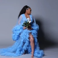 sexy sky blue tulle maternity robes custom made long women sheer see through tulle prom evening dresses gowns