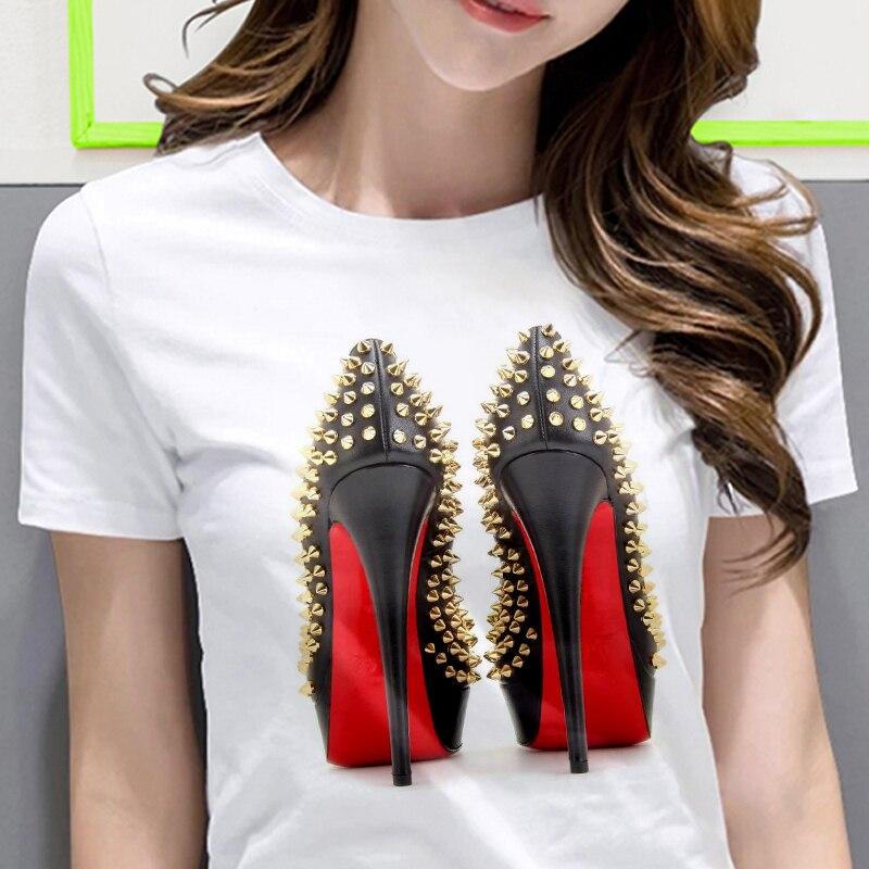 Camiseta blanca camisa de mujer moda Zapatos de tacón alto impreso camiseta de verano de mujer de manga corta casual ropa de calle camiseta