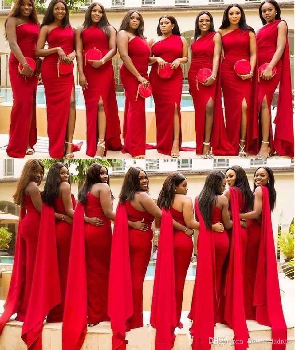 Árabe vermelho sereia vestidos de dama de honra um ombro lado dividir andar comprimento longo casamento vestido convidado formal dama de honra vestidos