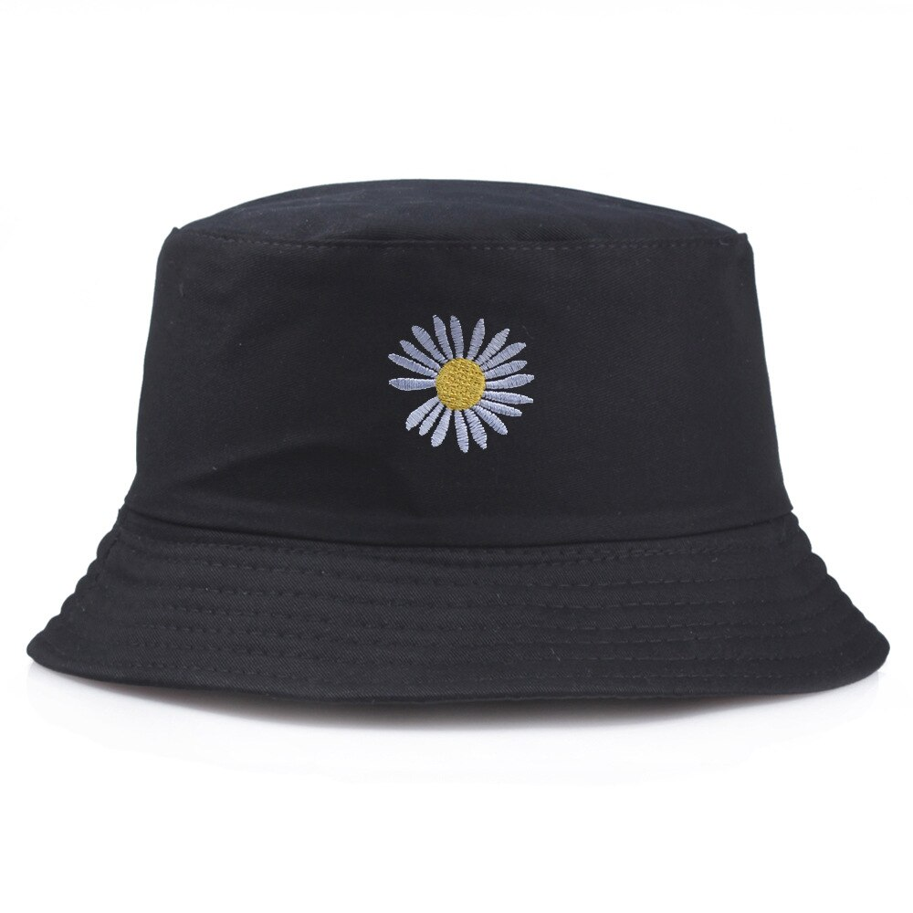 Schwarz Weiß Daisy Eimer Hut Unisex Bob Caps Blume Hüfte Hop Gorros Männer frauen 2020 Sommer Panama Kappe Strand Sonne angeln boonie Hut