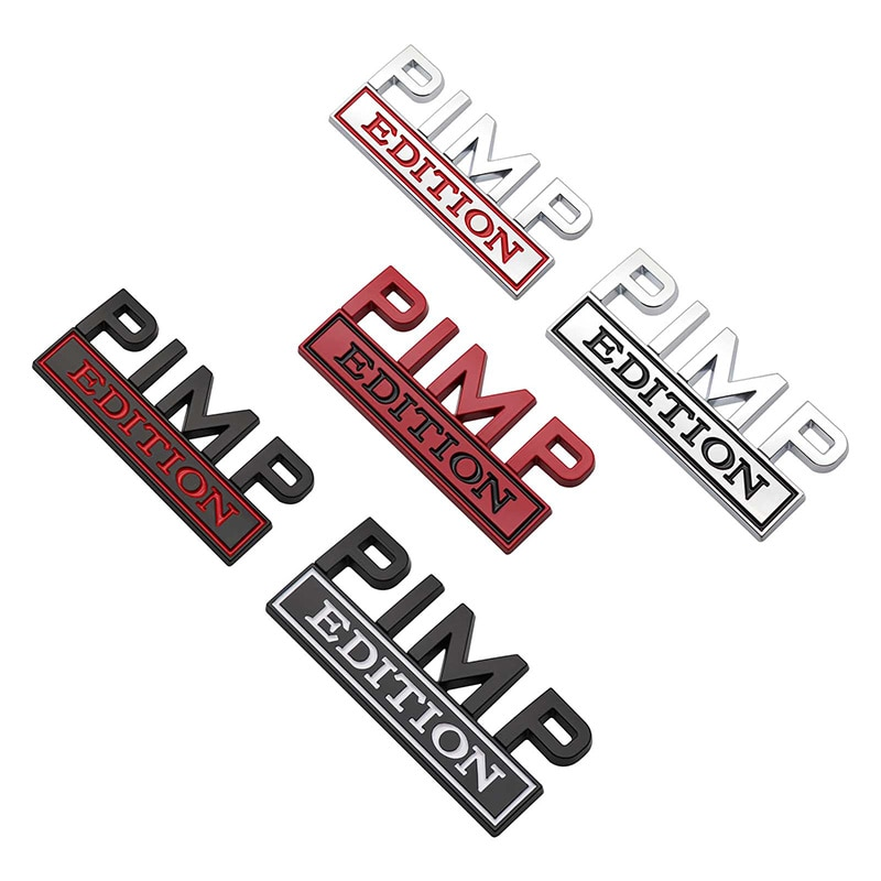80x30mm Universal Car Fender Decal Metal Car Sticker Badges For Chevy Ford PIMP EDITION Truck 3D Sticker Car Styling Decals