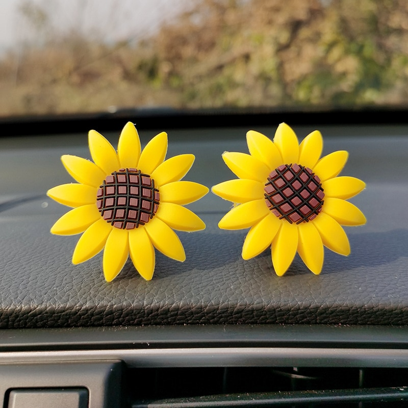 Sunflower Car Air Freshener Perfume Fragrance Essential Oil Aroma Diffuser Vent Clip Free Give One P