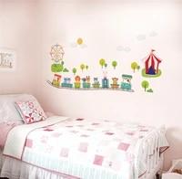 cartoon animal train wall decals kids bedroom decorative stickers baby gift nursery safari mural art decals monkey lion rabbit