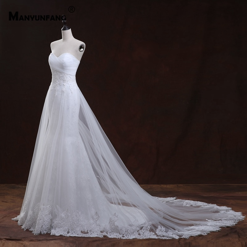 Real Photo Strapless Embroidery Appliques Tulle Chapel Train Mermaid Wedding Dress Custom Made Sleeveless Button Bridal Gown