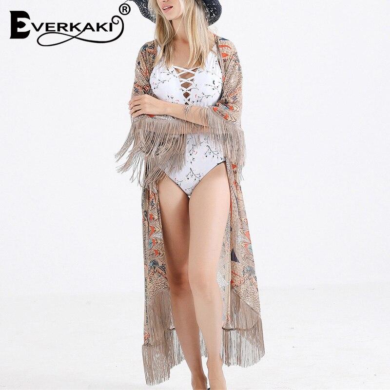 Everkaki boho impressão kimonos casacos verão praia férias senhoras cigano casaco longo quimono chique feminino nadar geral 2020 nova moda