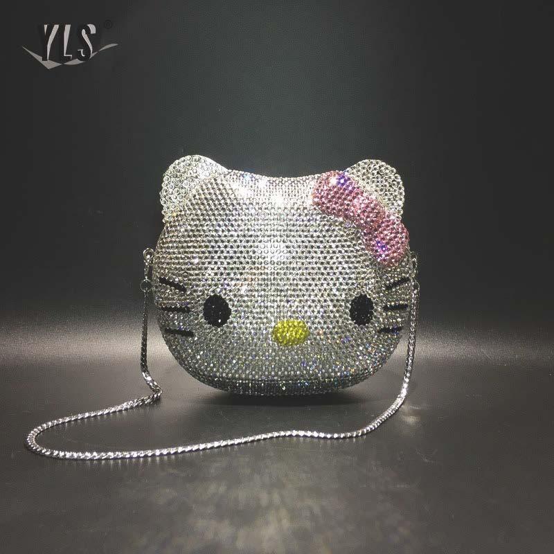 Schöne Cartoon 3D Katze Strass Kupplung Geldbörse Silber Gold Luxus Party Abend Diamant Tasche Frauen Kristall Handtaschen Sac EIN Haupt