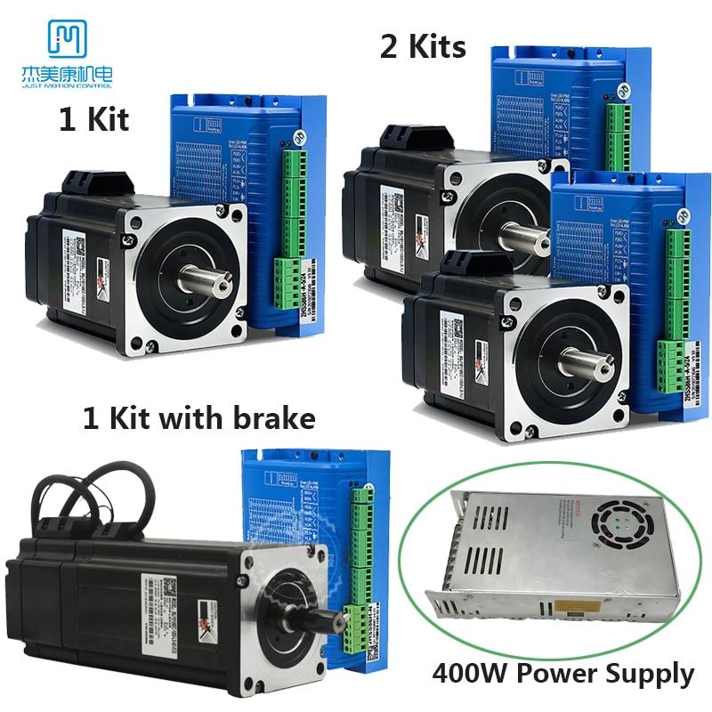 2Kits Nema34 4.5Nm 8.5Nm 12Nm Closed Loop Stepper Motor & Brake +Driver+400W 60V Power Supply+Encode