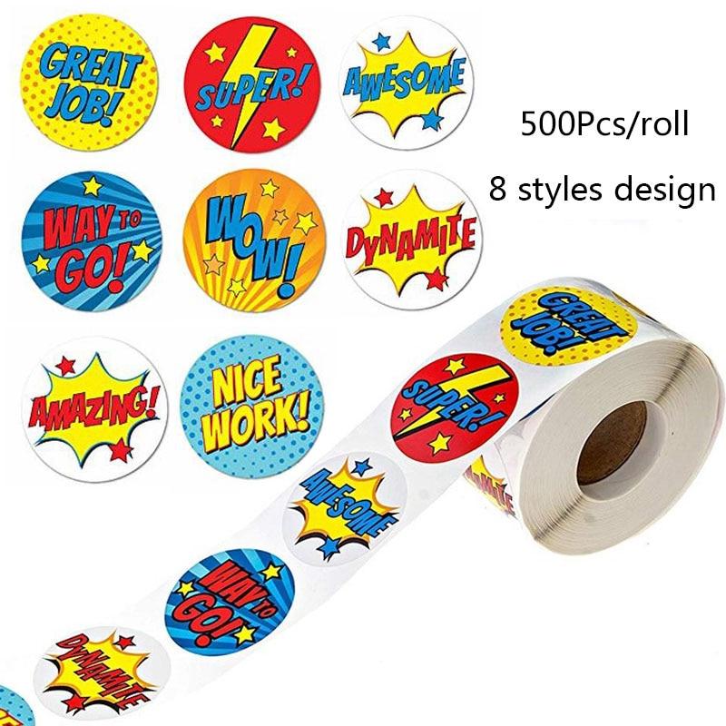 500-uds-etiqueta-engomada-del-diseno-de-la-recompensa-8-diferentes-estilos-de-dibujos-animados-palabras-lindas-wow-buen-trabajo-escuela-profesor-estudiante-adhesivo-de-papeleria