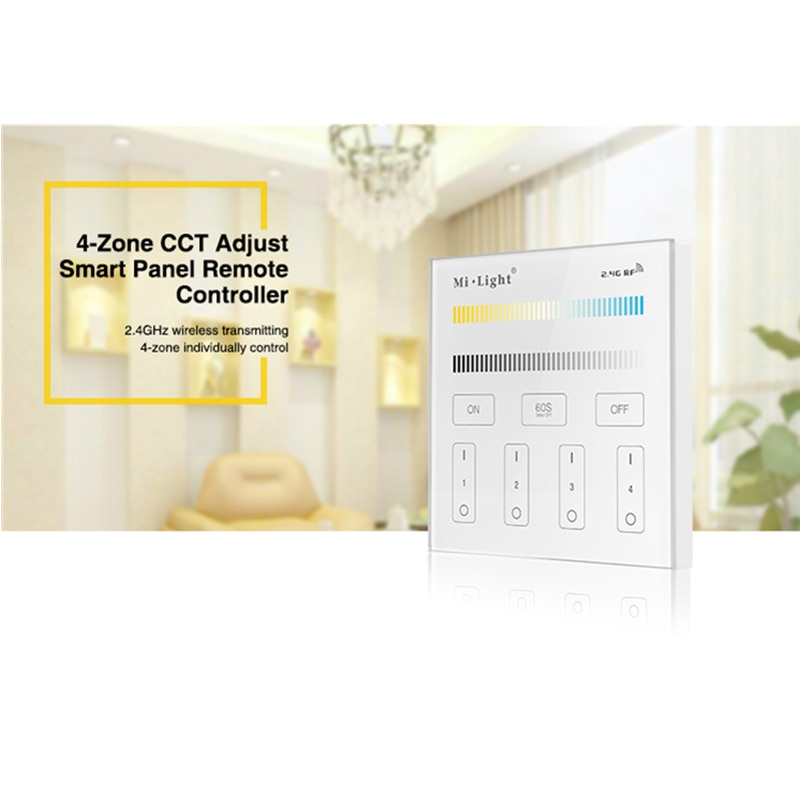 Miboxer T2 4-Zone CCT Adjust Smart Panel Remote Controller Color Temperature and Brightness For LED Strip Light Lamp Bulb Contro