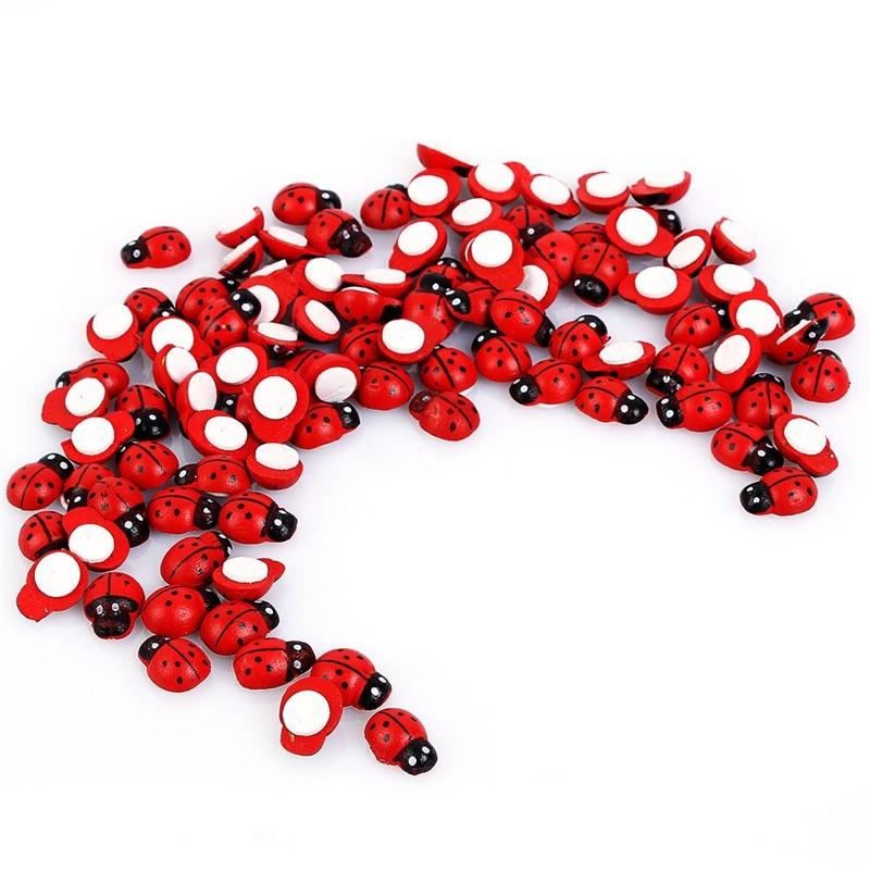Autocollants Mini coccinelle en bois   Étiquette éponge, 100x1.4 cm, décor Micro paysage pour réfrigérateur, Scrapbooking, 0.9 pièces/paquet
